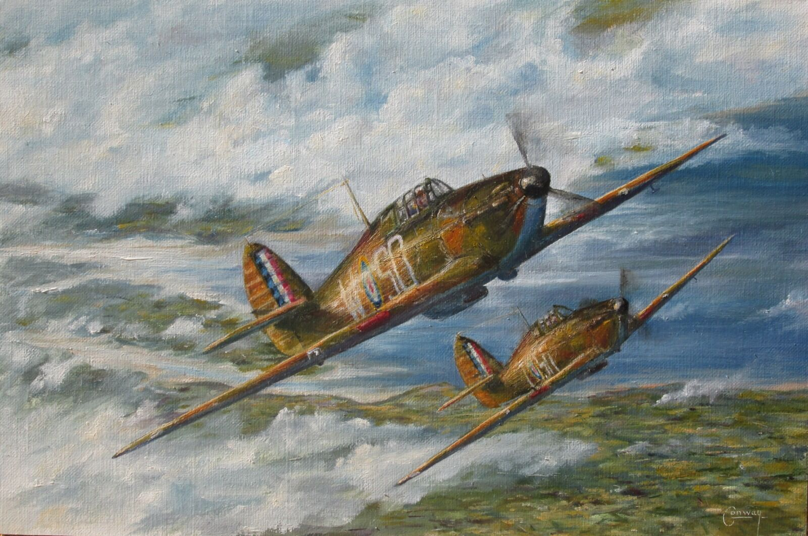 'The Polish Defence' - Hurricanes of F/O Stefan Witorzenc, and P/O Pawel Zenker, No. 501 Squadron climb over the Thames Estuary