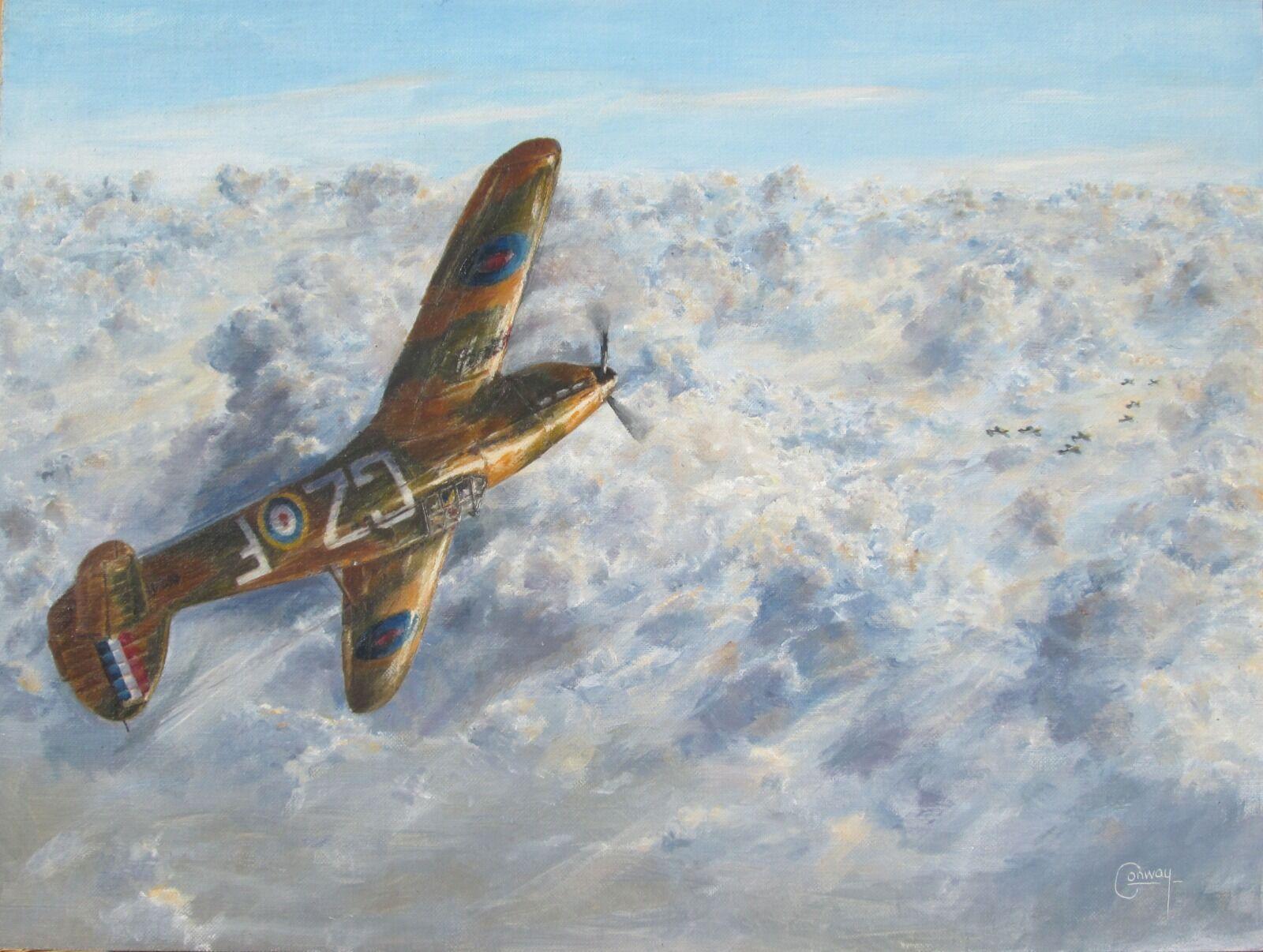 """A Tangle with some 109s""- Hurricane of Sq/L. Micheal Nicholson Crossley, No. 32 Squadron"