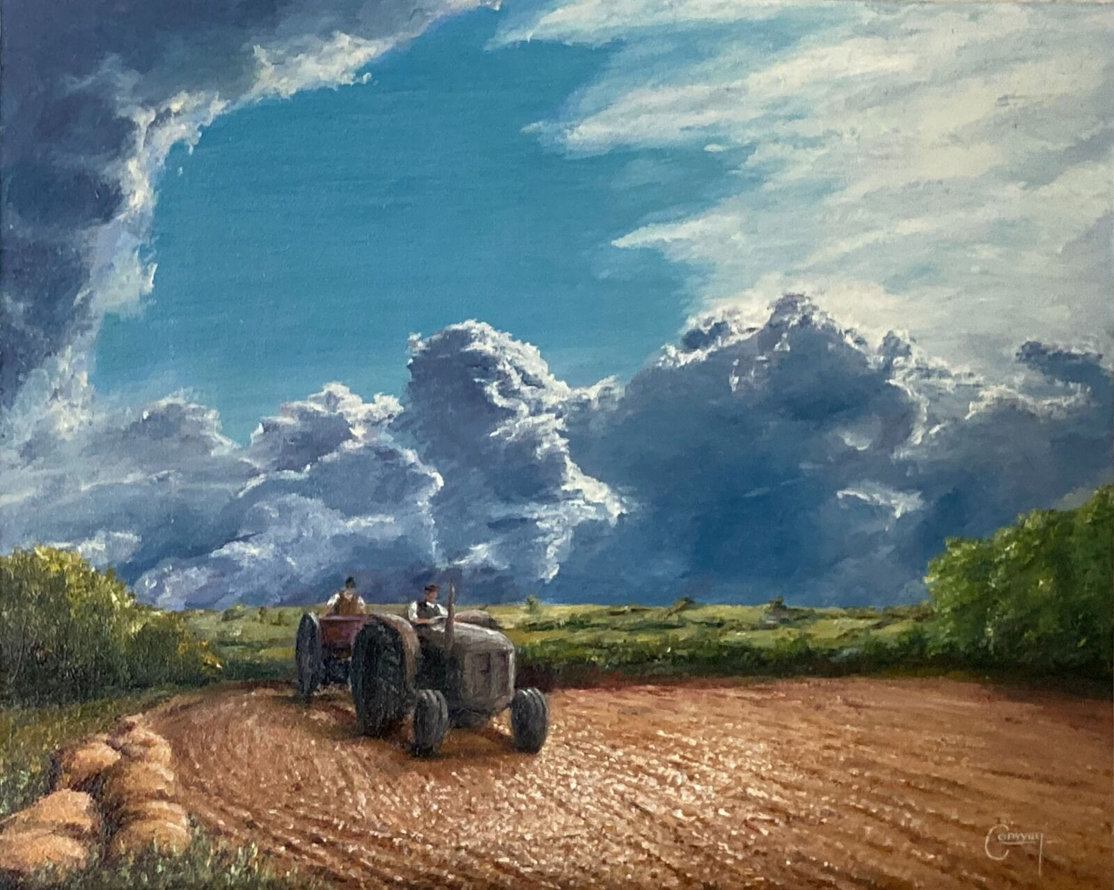 Painting of vintage tractor drilling a field.