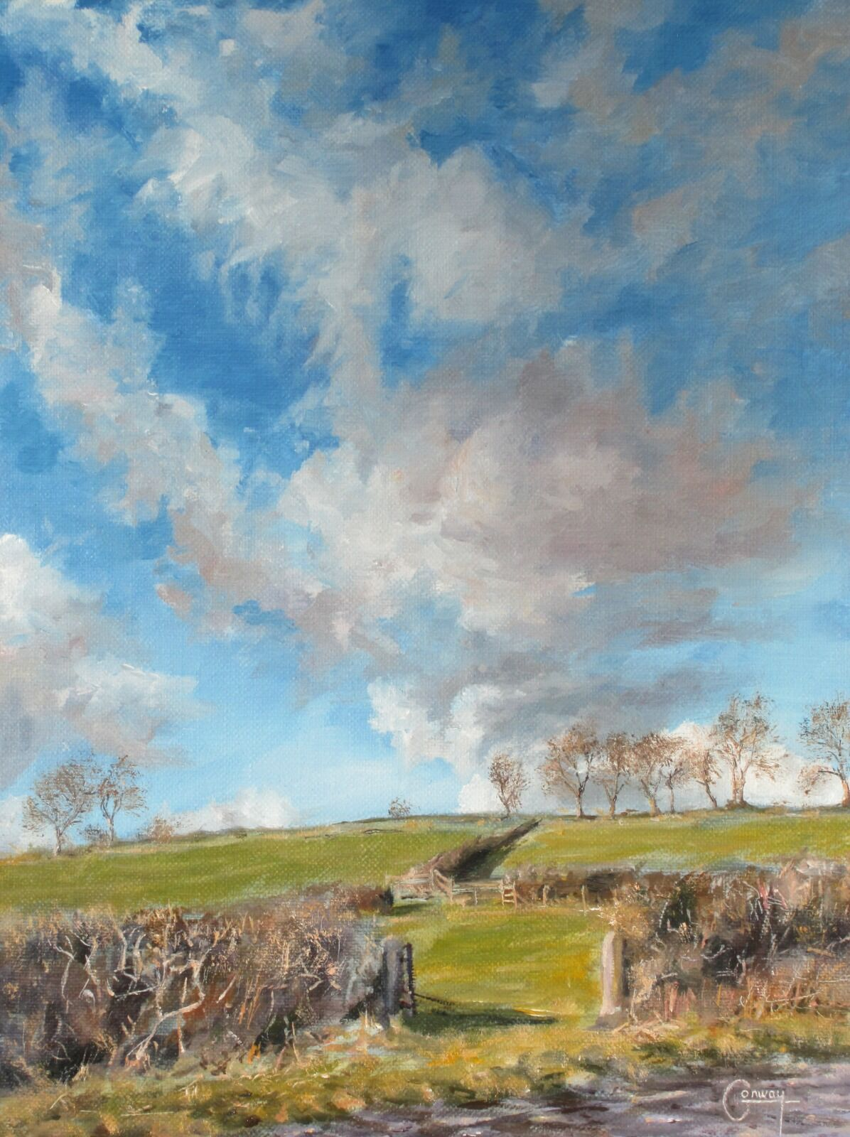 This painting 'Early Winter Cloudscape' intends to capture a fleeting moment of experience. What is it about realist painting that that allows it to stimulate deep connections with our memory?