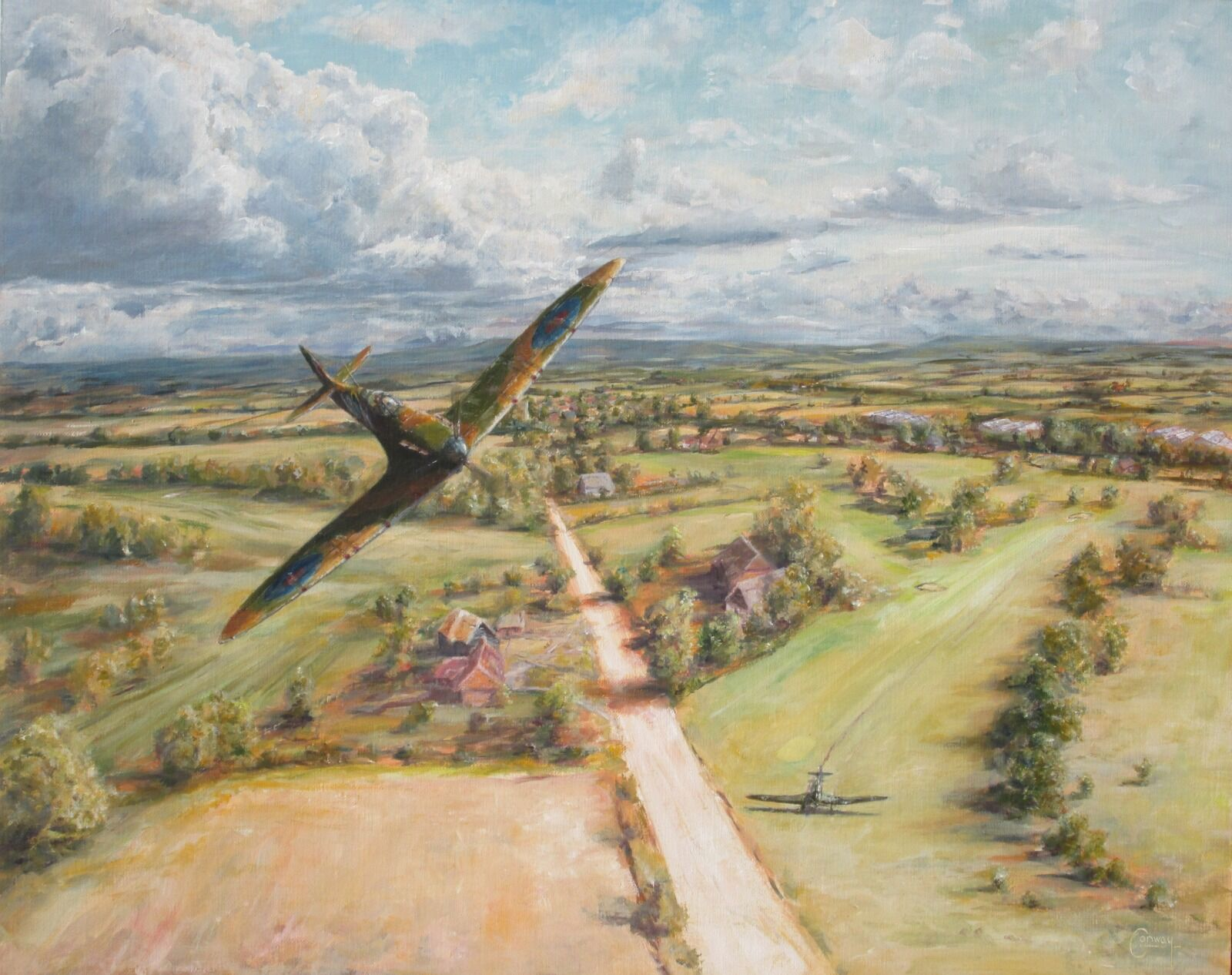 """The completed painting 'On the 16th Fairway', a tribute to Sgt. Basil Whall and Churchill's """"Few"""". (Click image to enlarge)"""