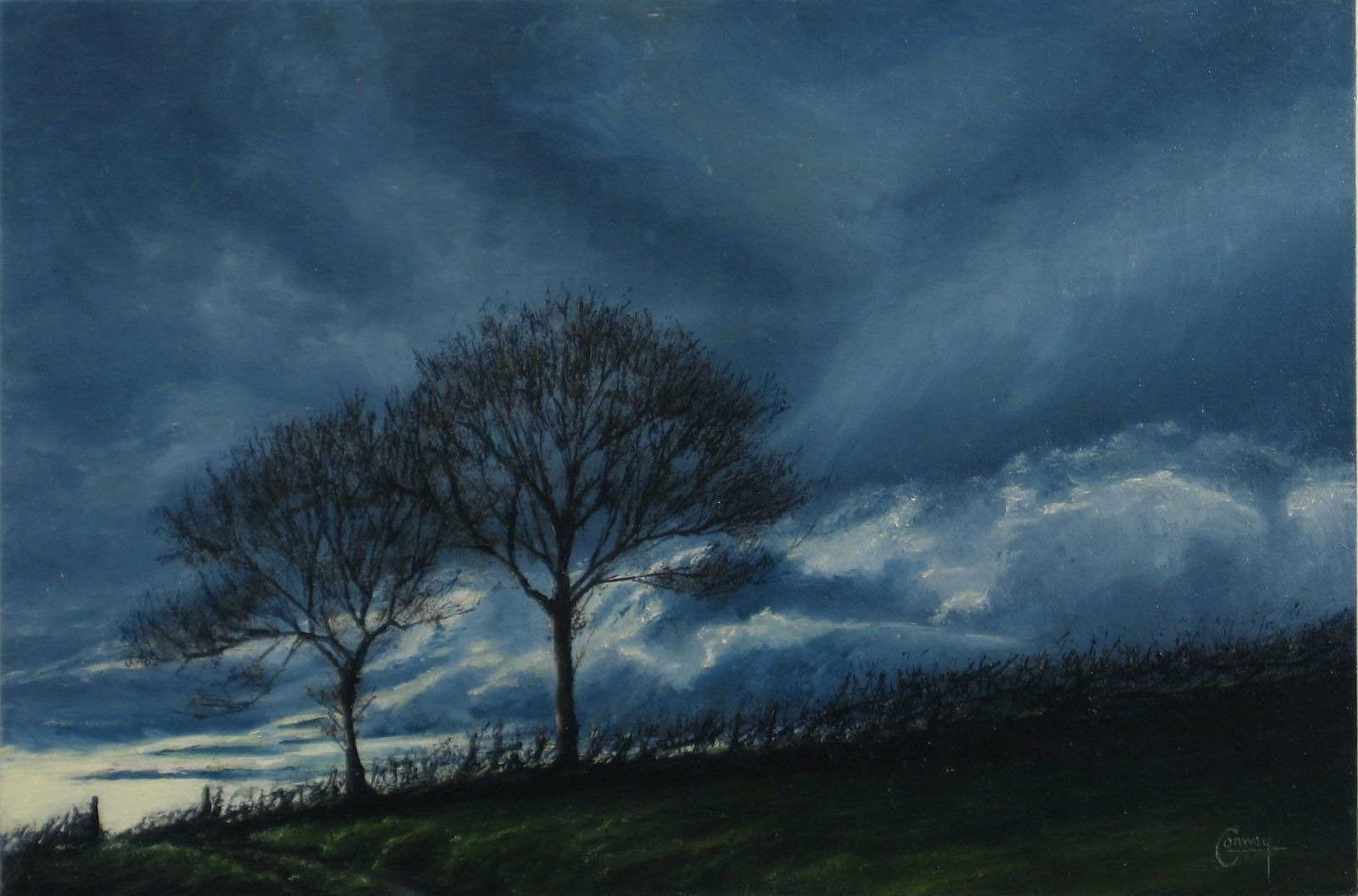 Painting of hedge and trees against a moody sky.
