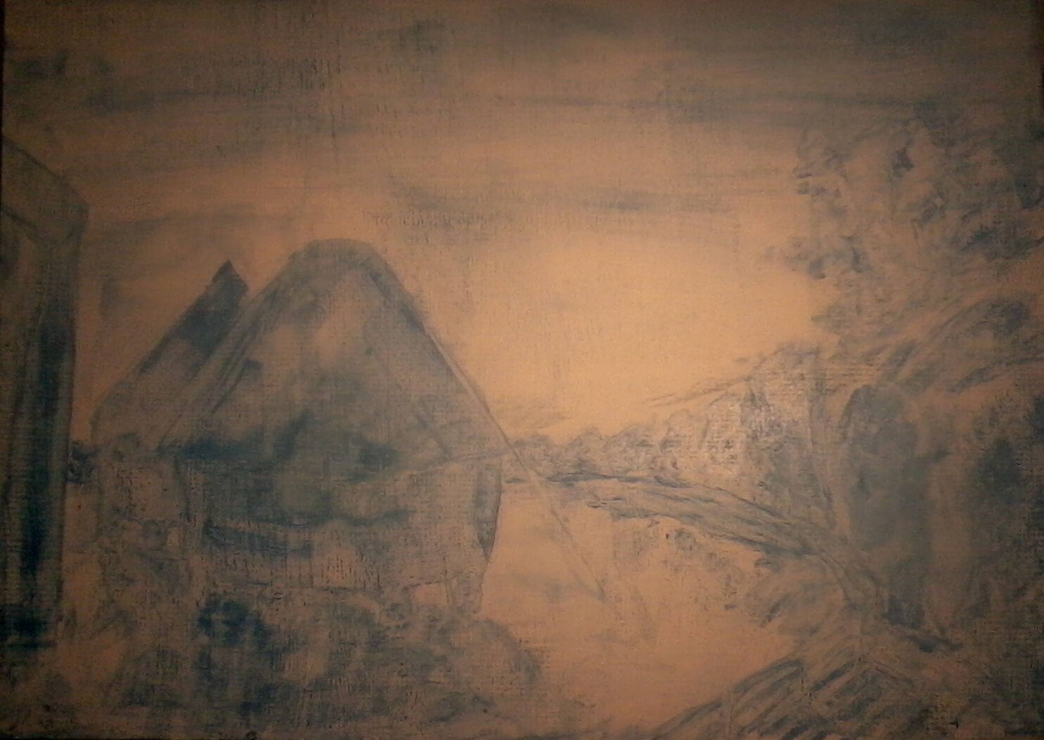 The 'impressionist' style evident in my painting 'Rick Thatching at Dusk' at an early stage in the work.