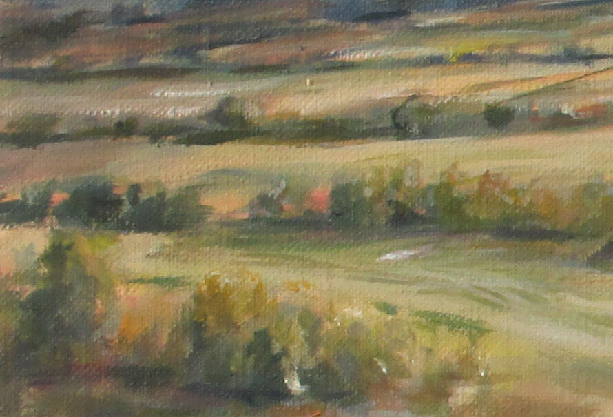 Some of the mown stripes and the visible ochre ground underlayer in the finished painting..