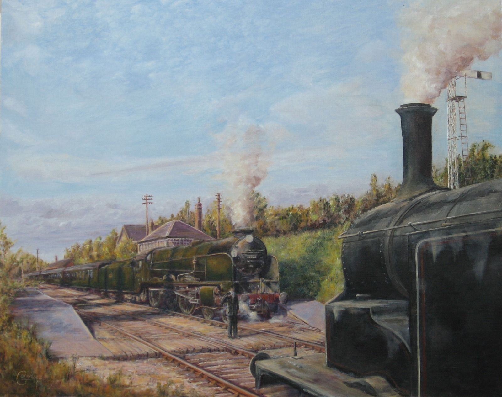 """SR Lord Nelson Class """"Lord Collingwood"""" 30862 and an SR M7 0-4-4 Tank, Medstead Station"""