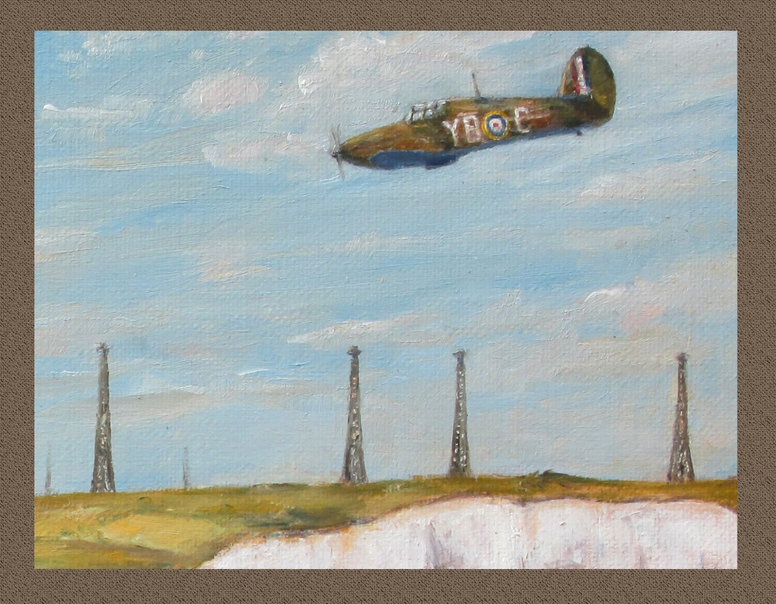 """Chain Home radar receiving masts, with a passing 17 Squadron Hurricane (detail from the painting """"Back Among Friends"""")"""