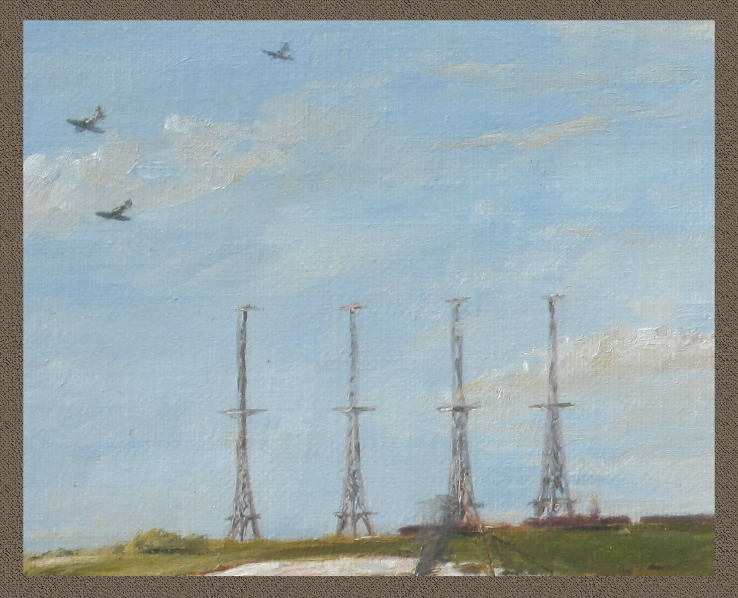 """Chain Home radar transmitting masts (detail from the painting """"Back Among Friends"""""""
