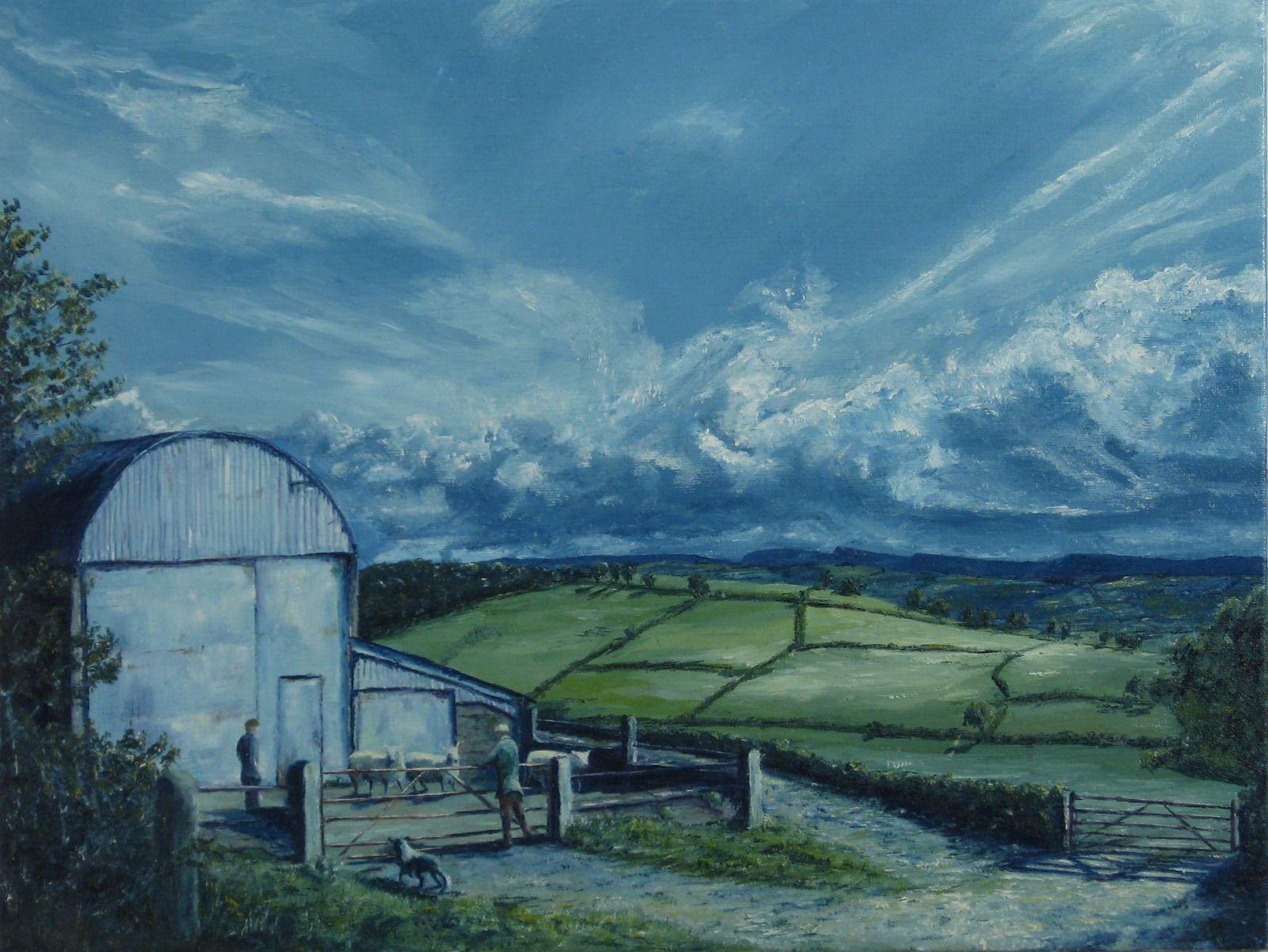Looking at a pen of sheep, Llansawel, Carmarthenshire