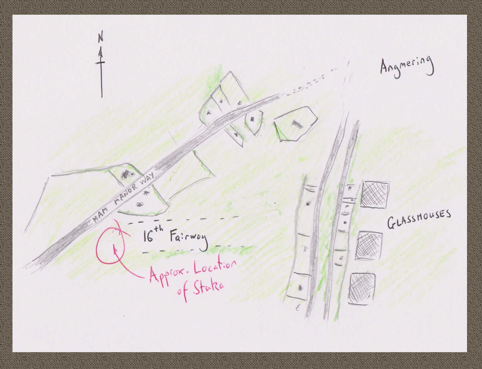 Sketch map showing Ham Manor Golf Course at Angmering as it was in the Thirties