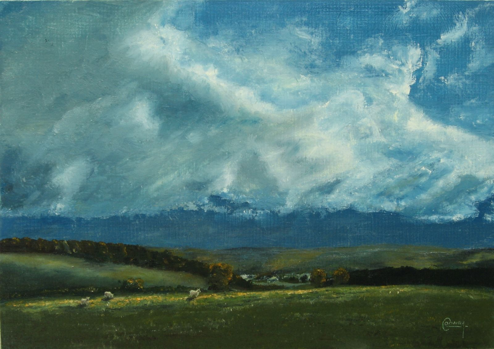 'Sky and Sheep, Looking South' - Llansawel, Carmarthenshire