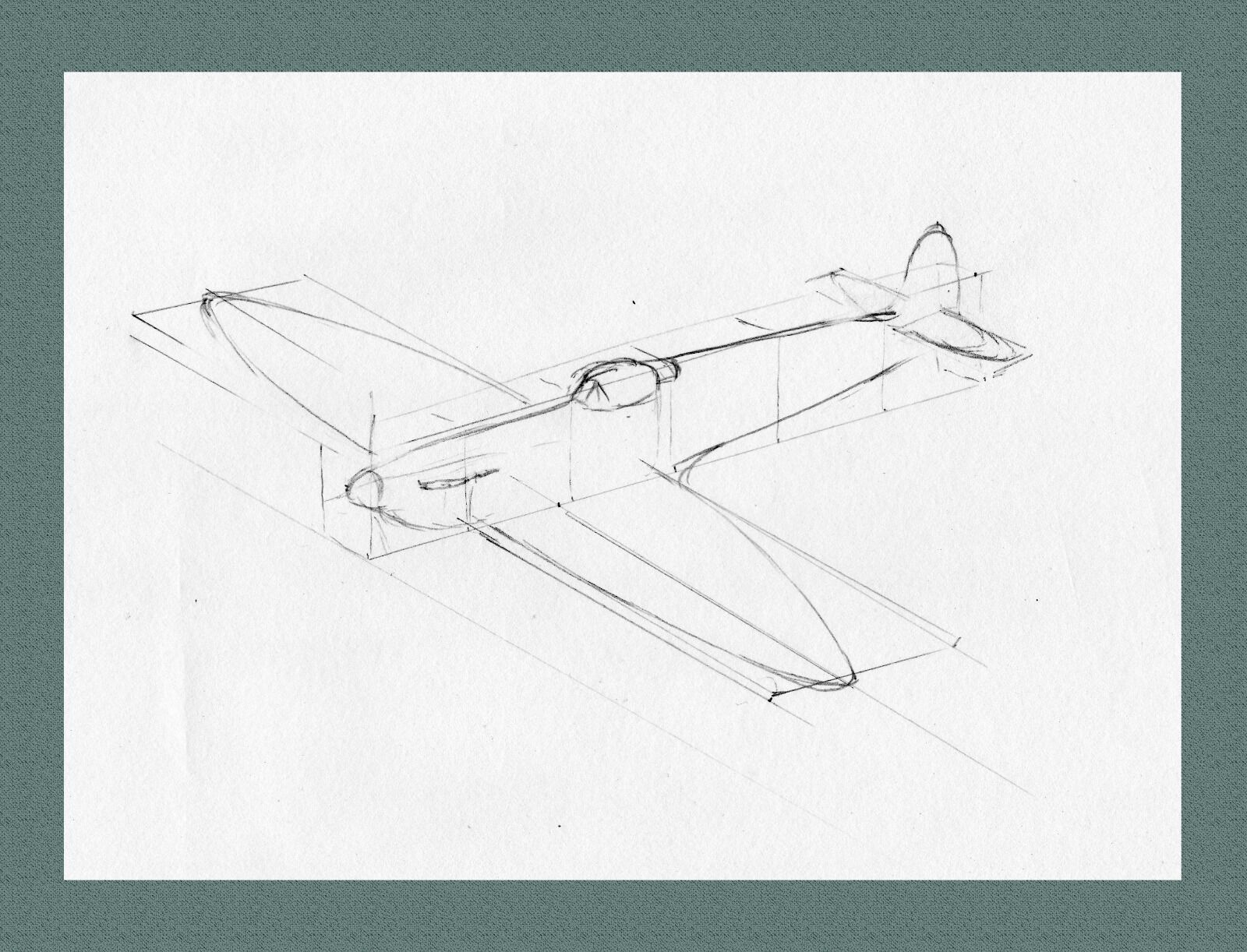 My simple way of constructing an aircraft (here a Spitfire) using boxes to set out the overall layout.