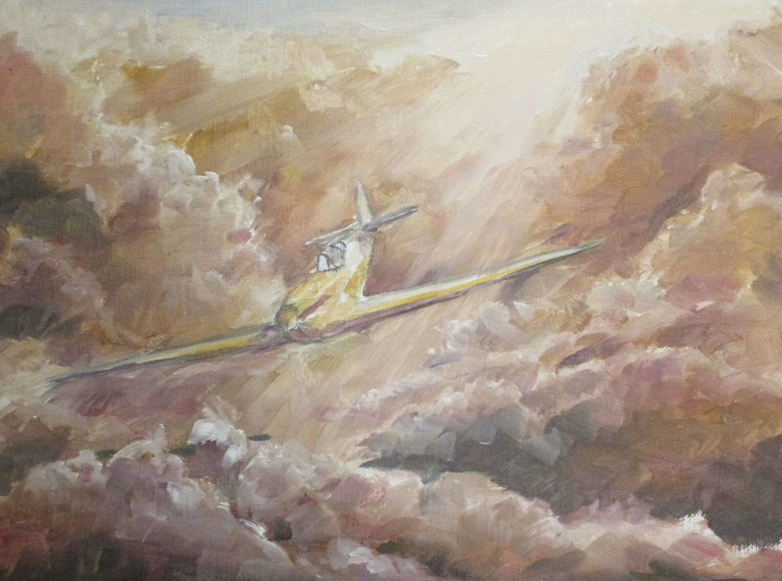 My painting of F/Lt. Bob Stanford Tuck's Spitfire near the start. You can see how a a very simple yellow/brown hue is used to establish the light and dark areas of the work.