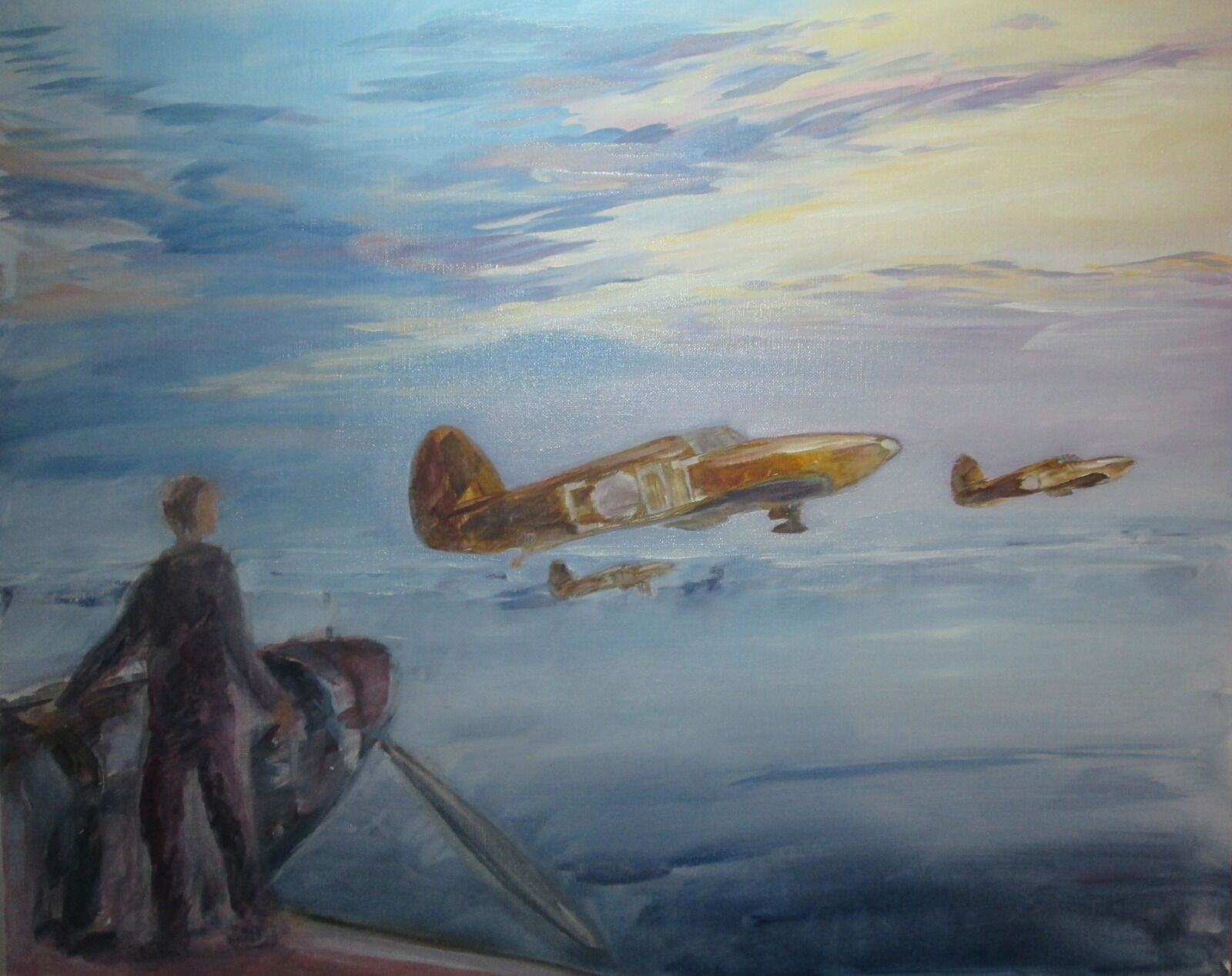My painting featuring Sgt. Girdwood's Hurricane 'Long Day Ahead', near the start. I have started to work colour into the whole painting, working up the different parts together. (You can see the continuation of this process in the picture below showing the mahlstick in use.)