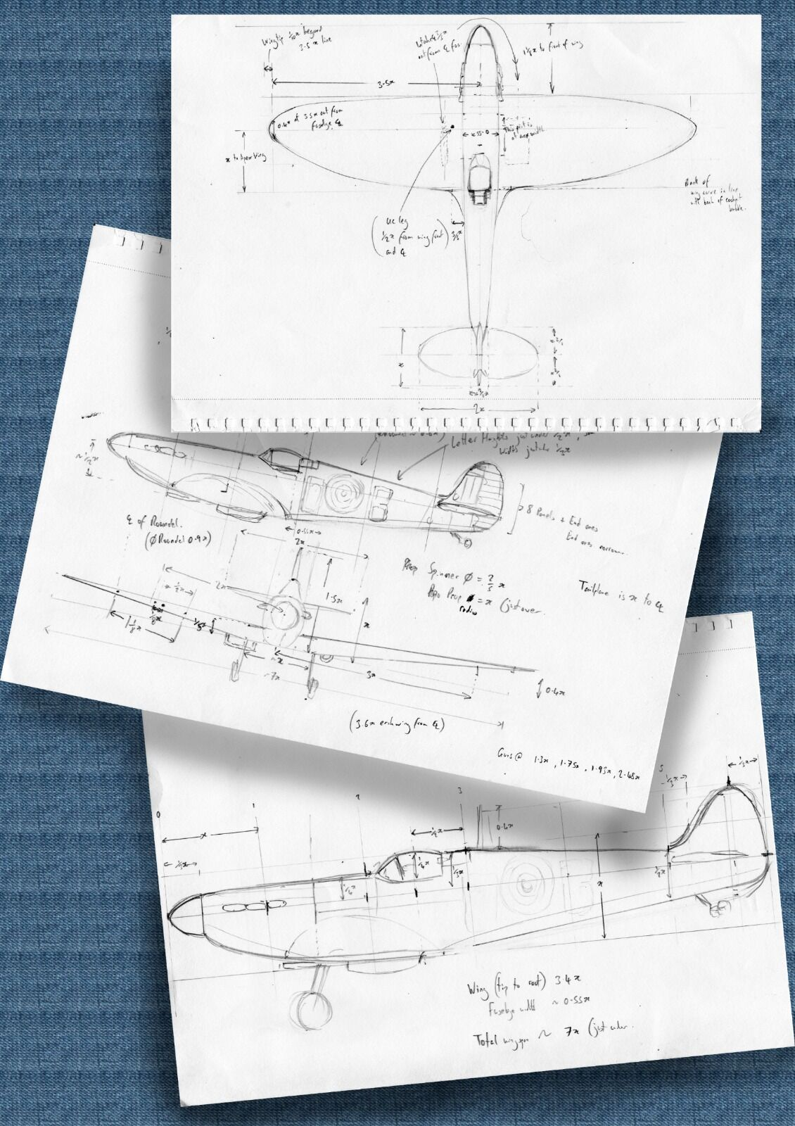technical drawings spitfire