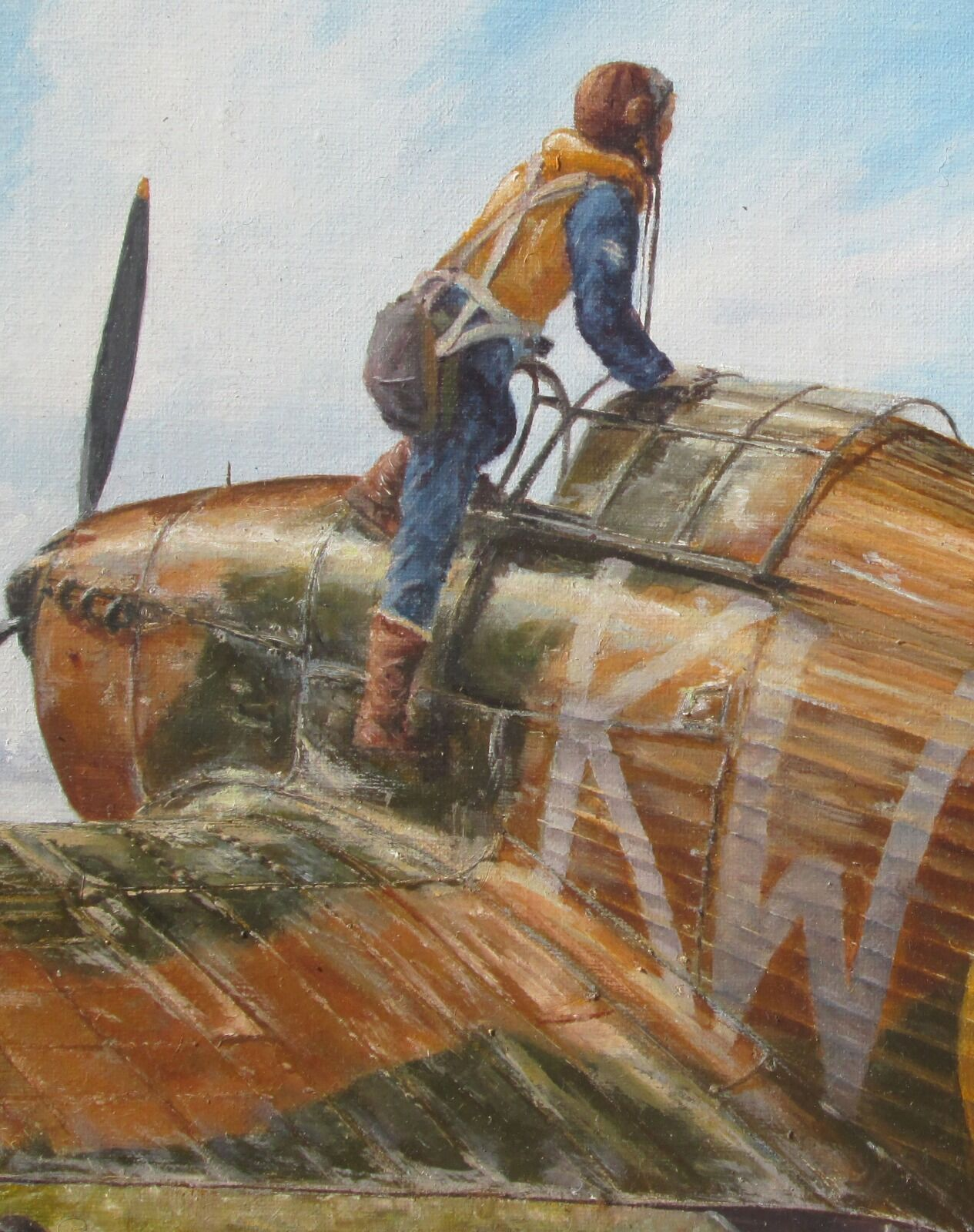 I had free run on the wear marks on this 615 Squadron Hurricane as there was no need to create a sense of movement in the aircraft.