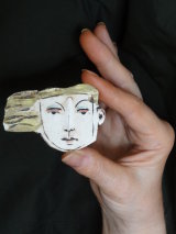 Ceramic Head Brooches
