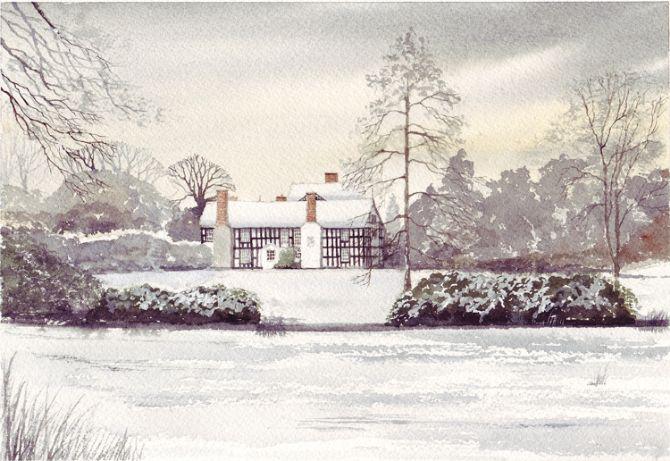 Snowfall Gawsworth Hall