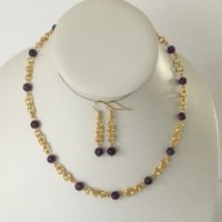 Amethyst and chain maille necklace and earring set.