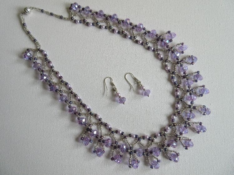 Purple Crystal and Bead Necklace