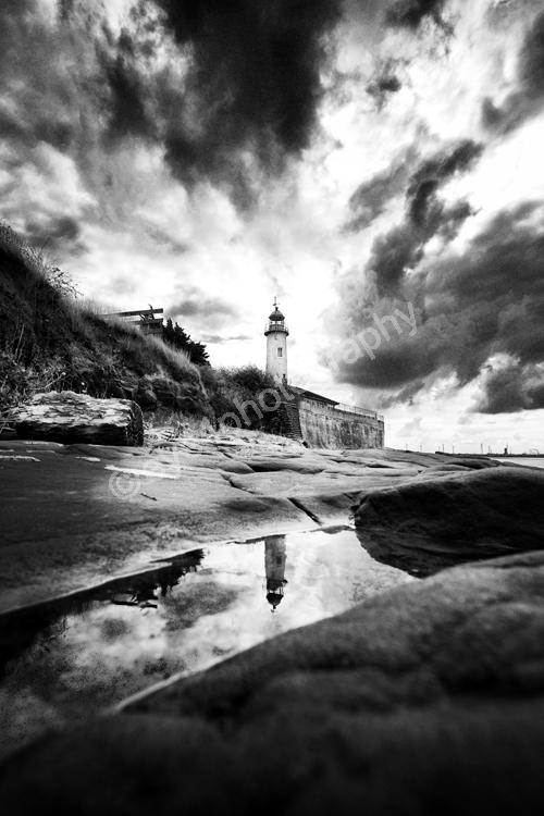 Hale lighthouse reflection portrait (b&w)