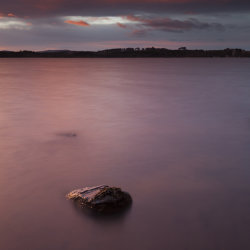 lone rock, loch of skene