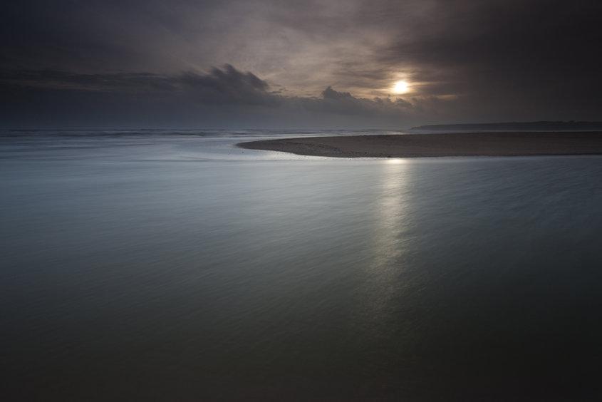 low winter sun, lunan bay