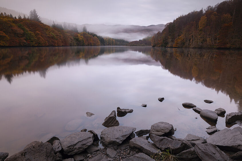misty dawn, loch faskally