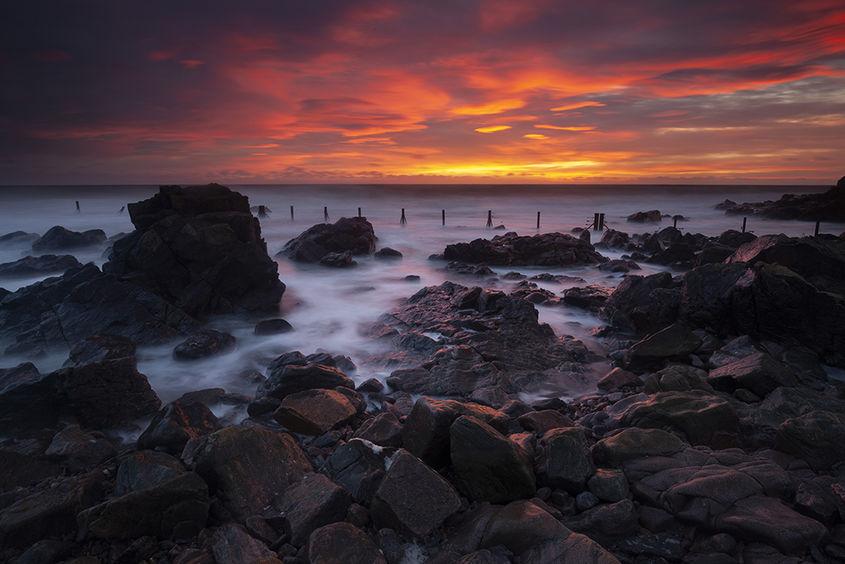 orange sunrise, greyhope bay
