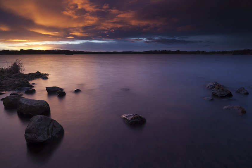 rocks at sunset, loch of skene