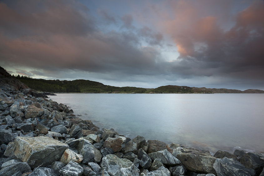 rocky shore, loch inver