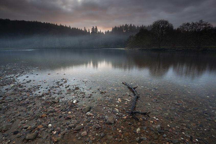 sunrise, loch faskally