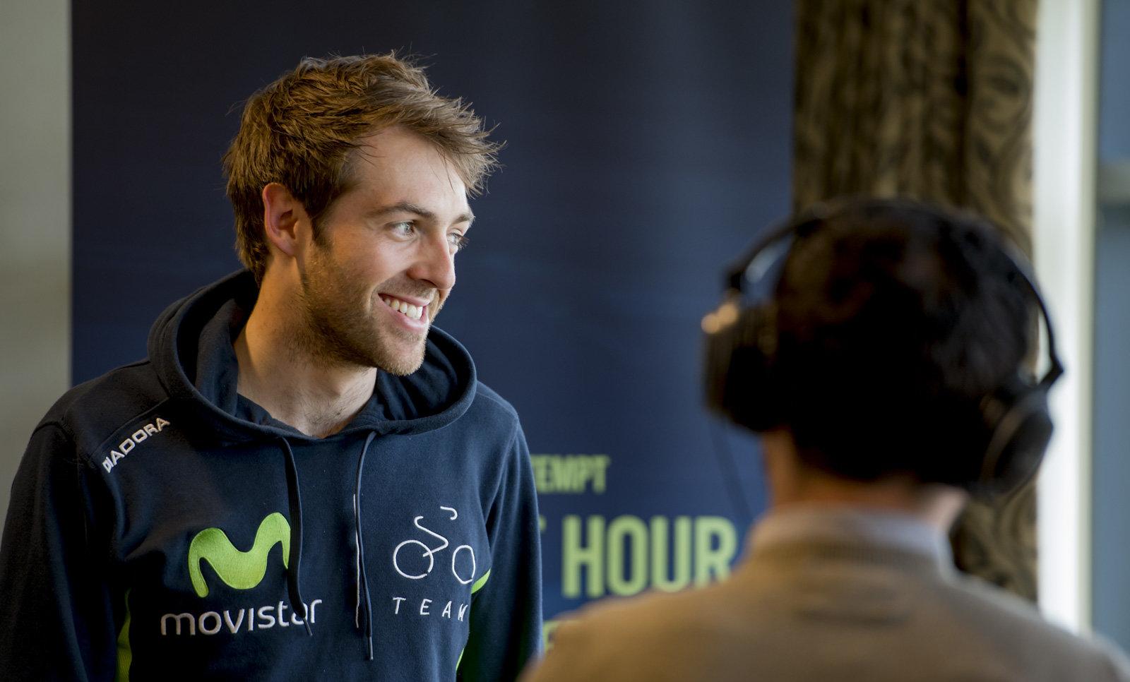 Alex Dowsett being interviewed