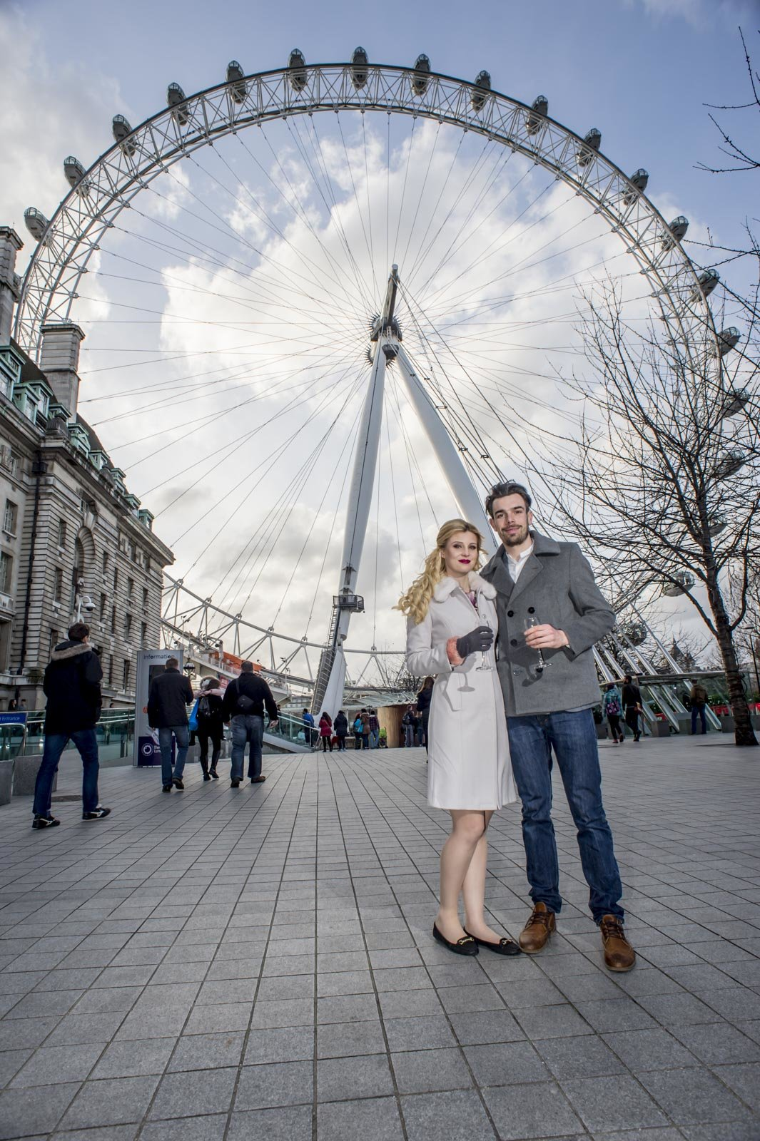 Andy and Lauren proposal with wheel