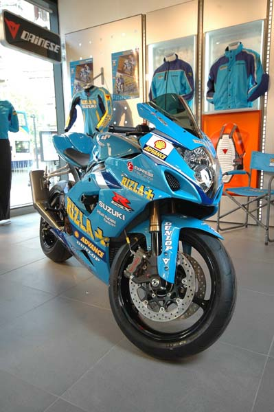Rizla Suzuki bike in Dainese