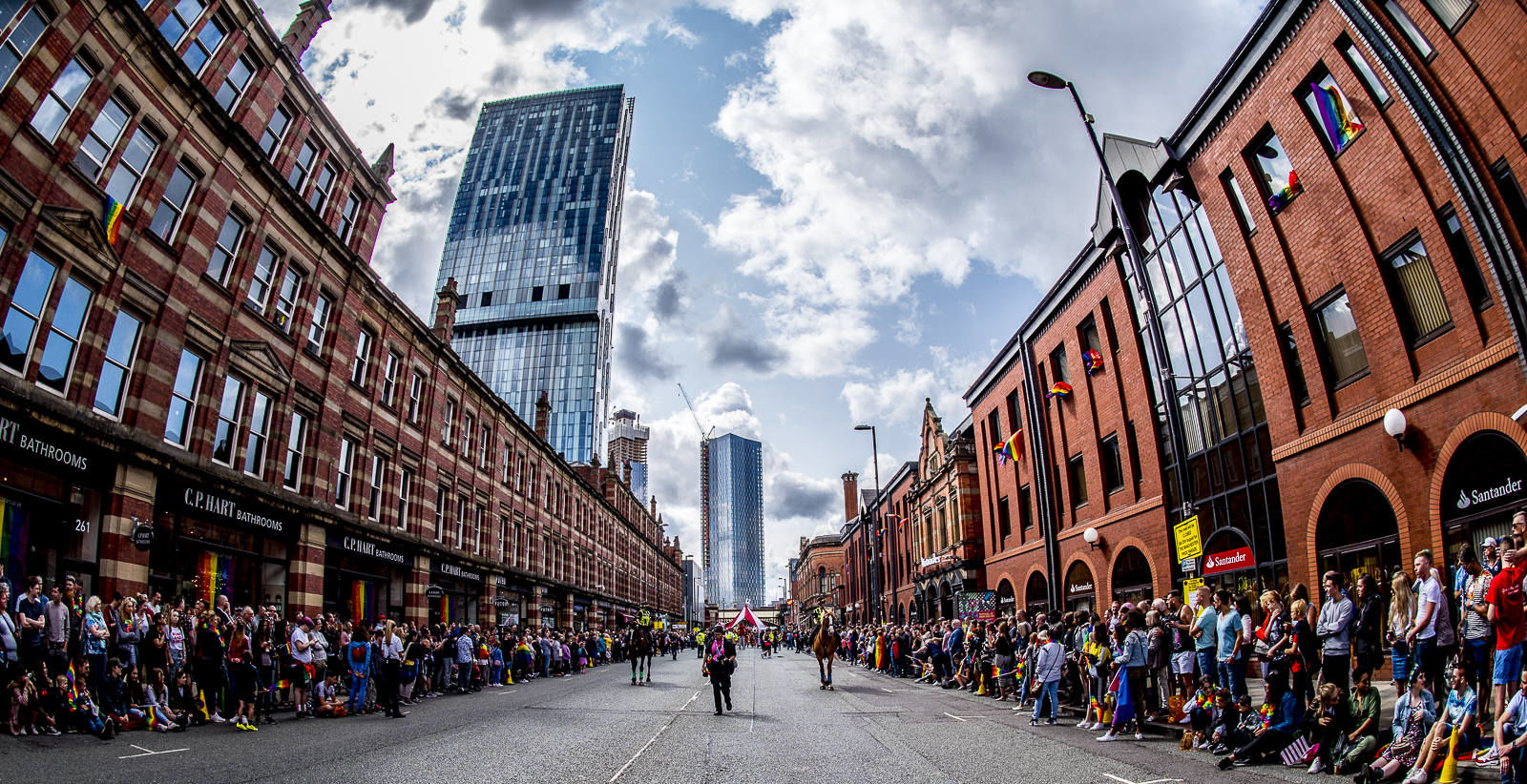Waiting for the Parade, Deansgate, Manchester