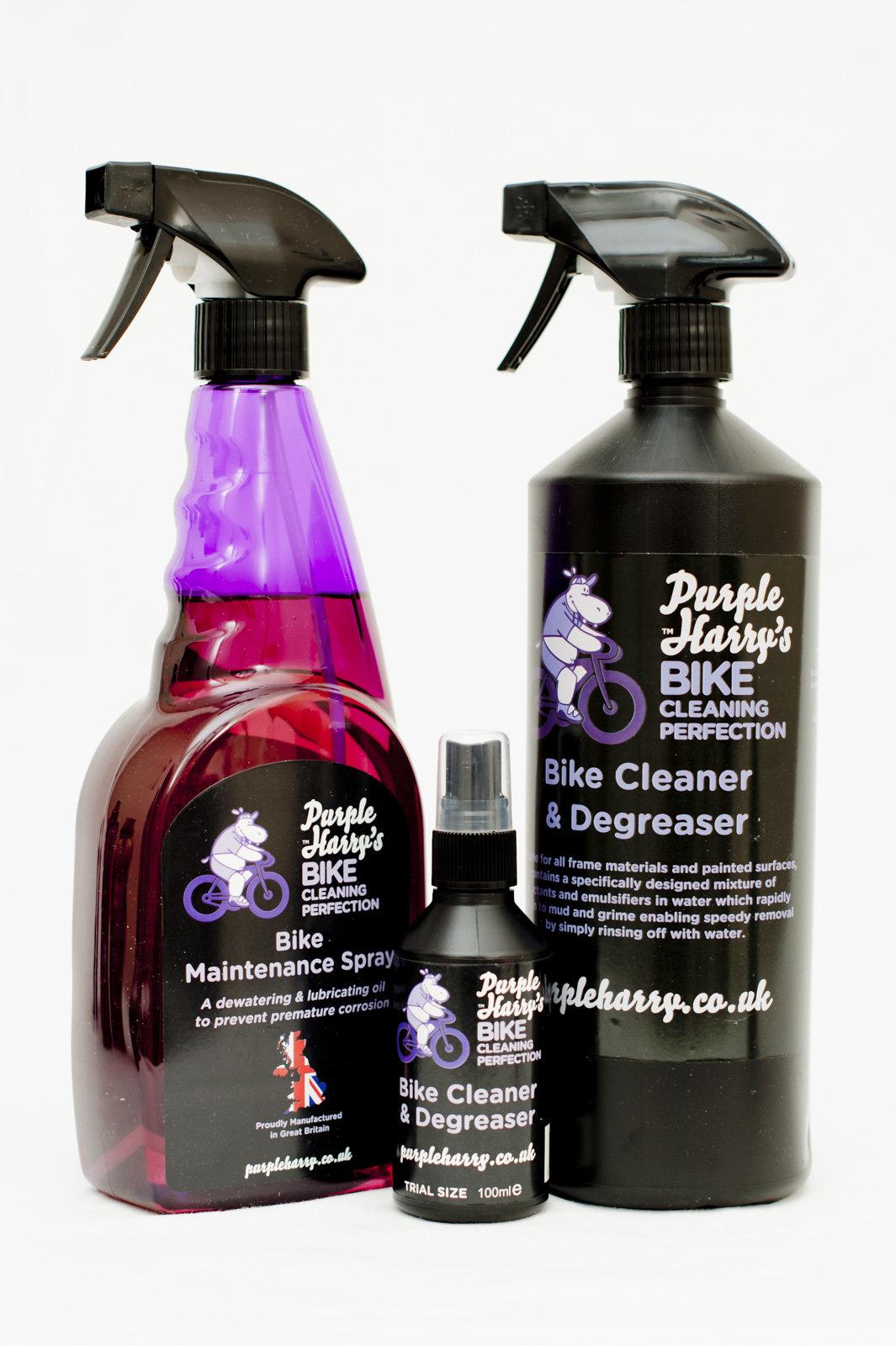 Purple Harry bike cleaner trio