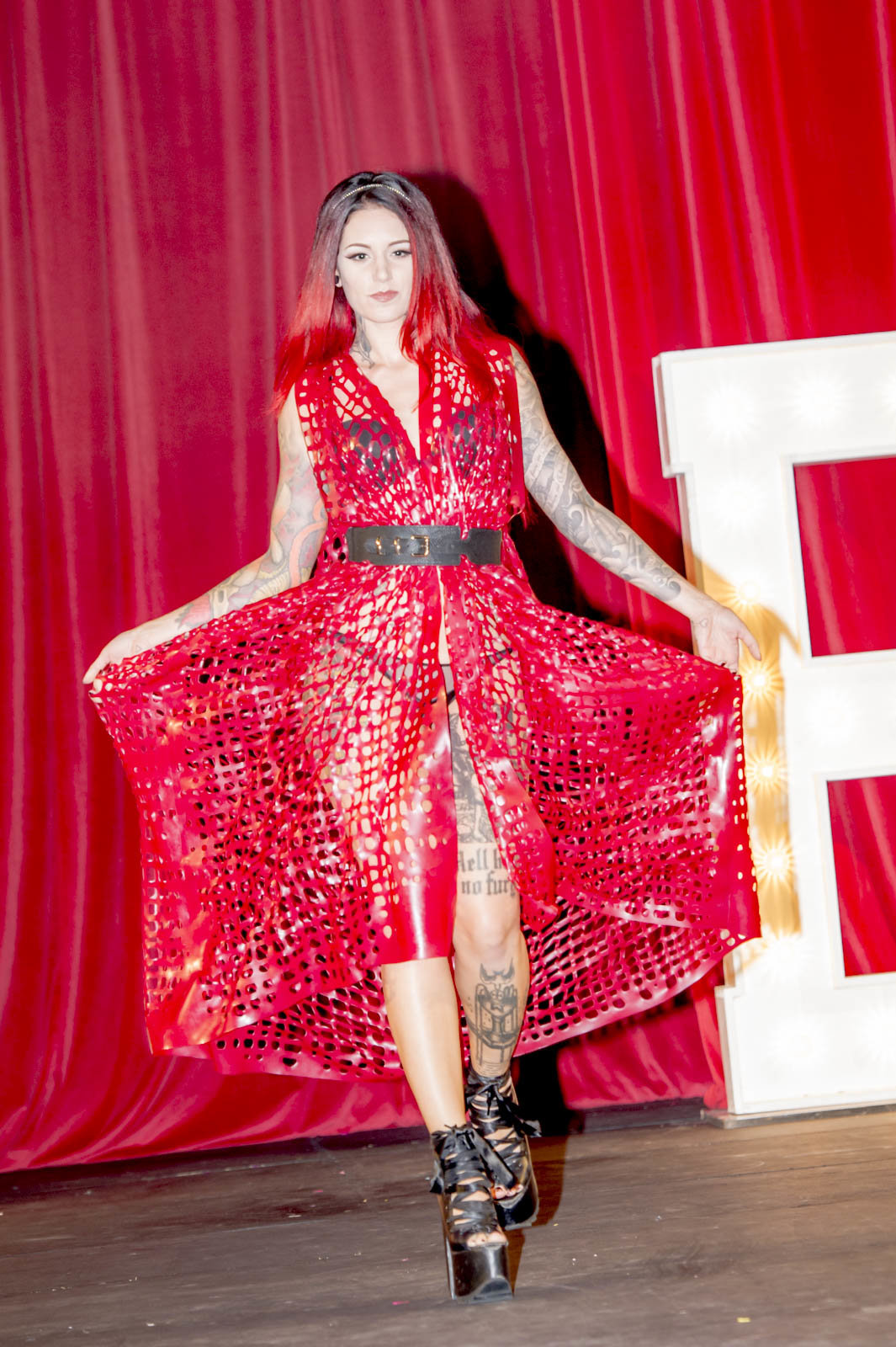 Red Dress on the catwalk