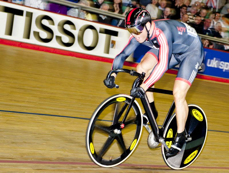 Sir Chris Hoy sprints for the line