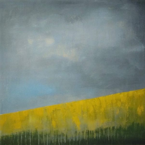 Painting of Oil Seed field with dark clouds