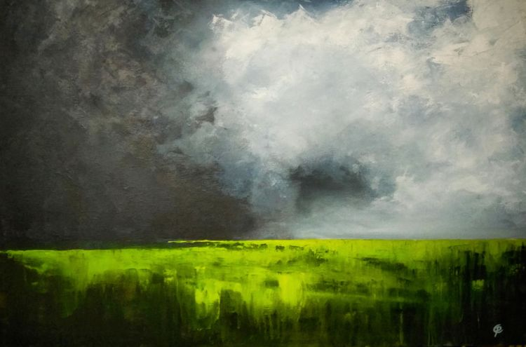 Painting of a storm brewing across the Swale, Kent, uk