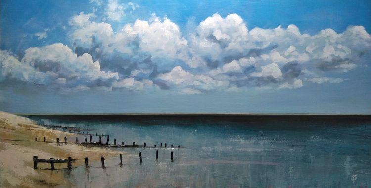 Painting of beach at shellness
