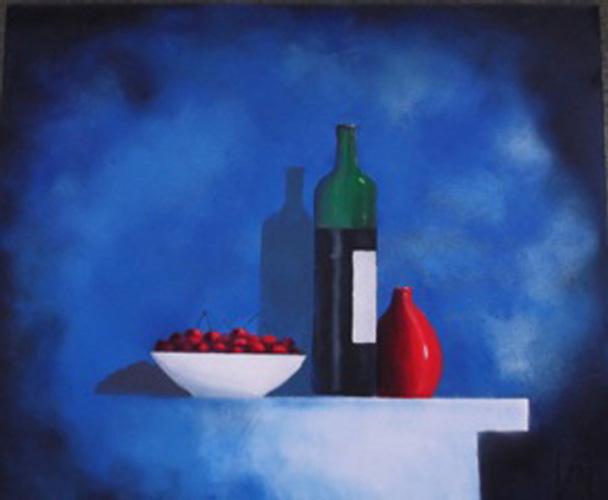 Bottles & a Bowl of Cherries-Acrylic