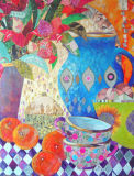 Blue Jug & Halequine Cloth-Collage & Mixed Media