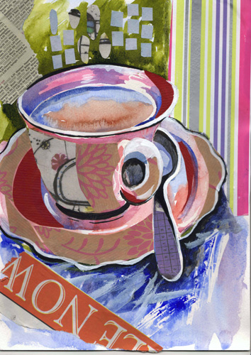 Tea Cup-Collage & Mixed Media