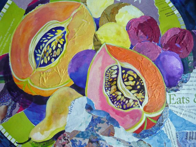 Melons on a Green Plate-Collage & Mixed Media