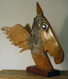 Aegir's steed-Sculpture driftwood & Lead