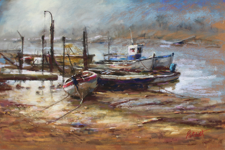 Boats in the morning light-Pastel