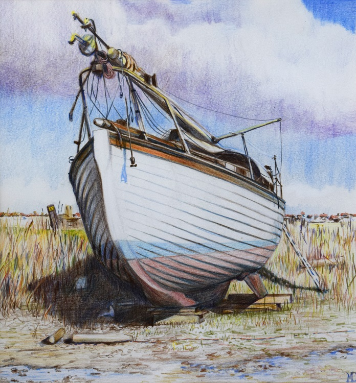 malcolm cudmore beached on the blackshore at southwold