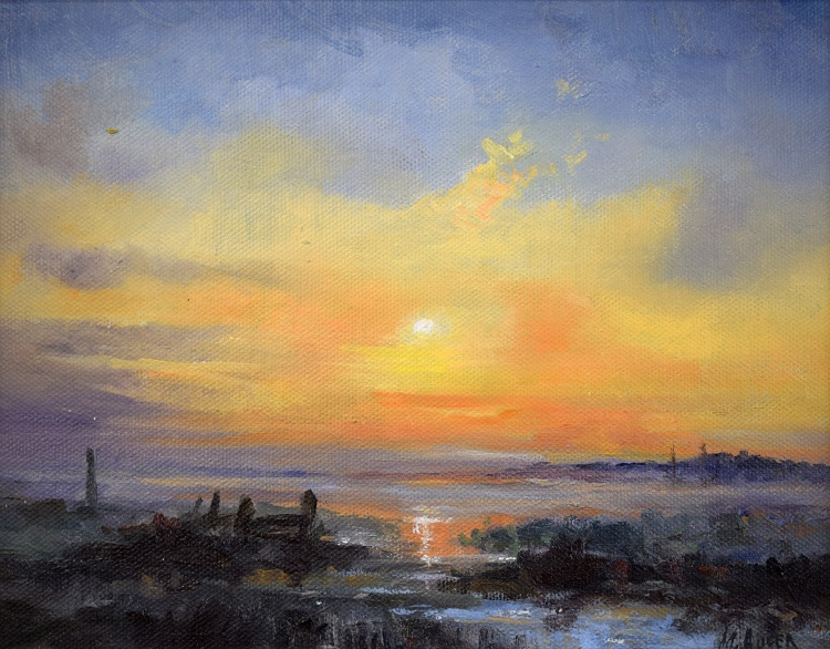 marian auger dusk on the river yare
