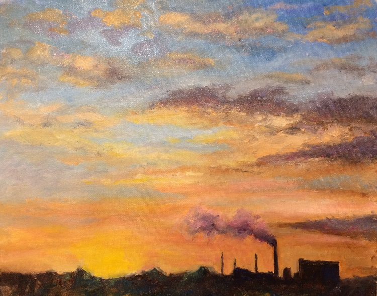 Sunset over Cantley factory